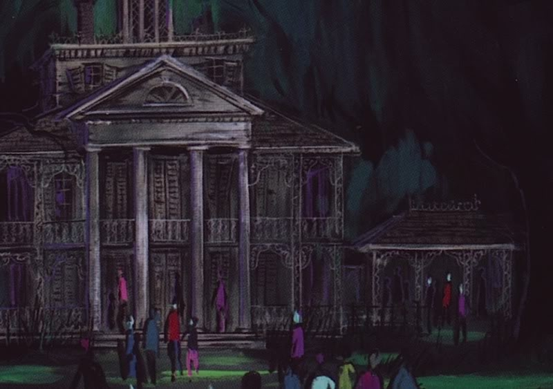 Originally conceptualized as a walkthrough attraction called the 'Ghost House', this piece by Ken Anderson depicts the exterior of the Mansion. (Image courtesy Long Forgotten Haunted Mansion)