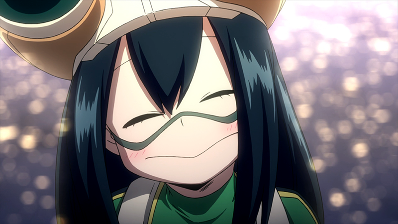 Tsuyu Asui, smiling with a sunset over water at her back.