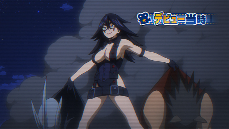 Midnight, wearing the revealing costume she wore at her debut as a Hero.