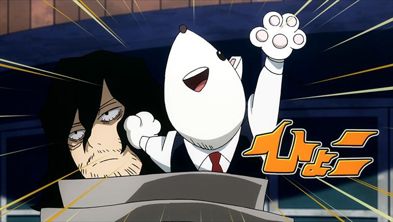 Principal Nezu pops out of Aizawa-sensei's scarf.