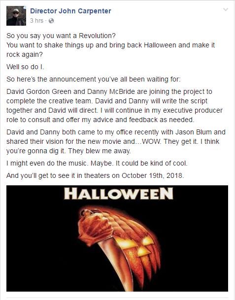 John Carpenter Halloween News