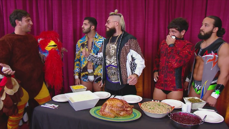 Drew Gulak dresses as a turkey to entertain his 205 Live teammates