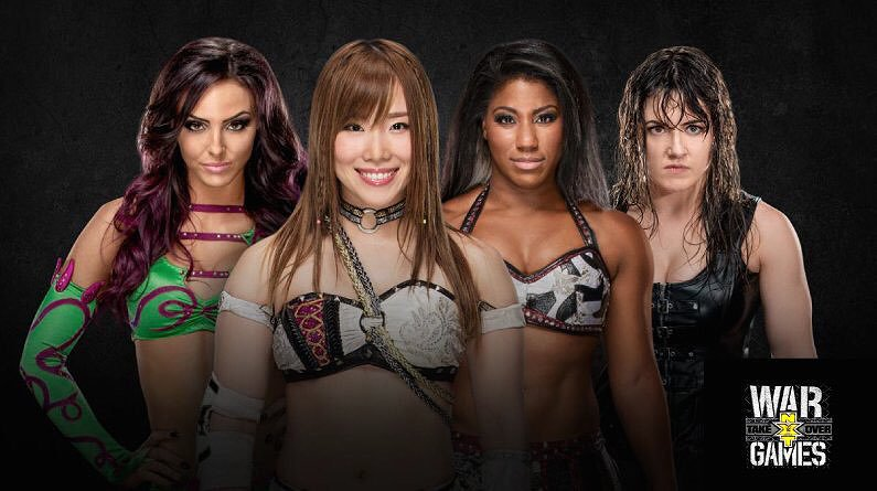 Peyton Royce, Kairi Sane, Ember Moon, and Nikki Cross in a promotional photo for an NXT TakeOver women's championship match