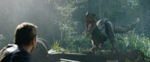Velociraptor Blue and Owen Grady (Chris Pratt) in Jurassic World: Fallen Kingdom