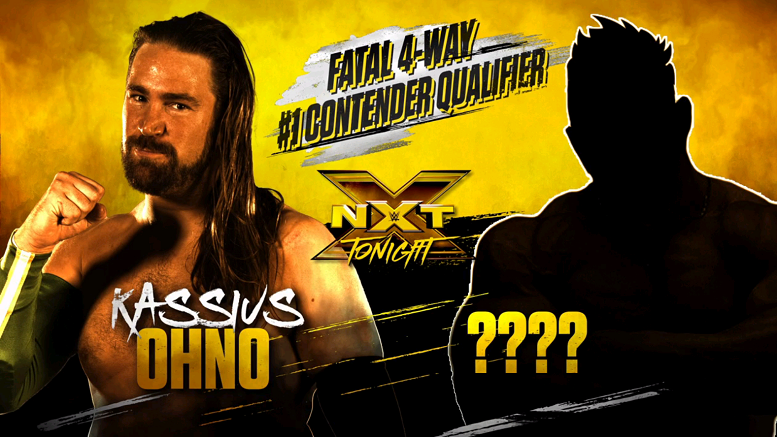 WWE NXT match card featuring Kassius Ohno and a silhouette of an unknown opponent