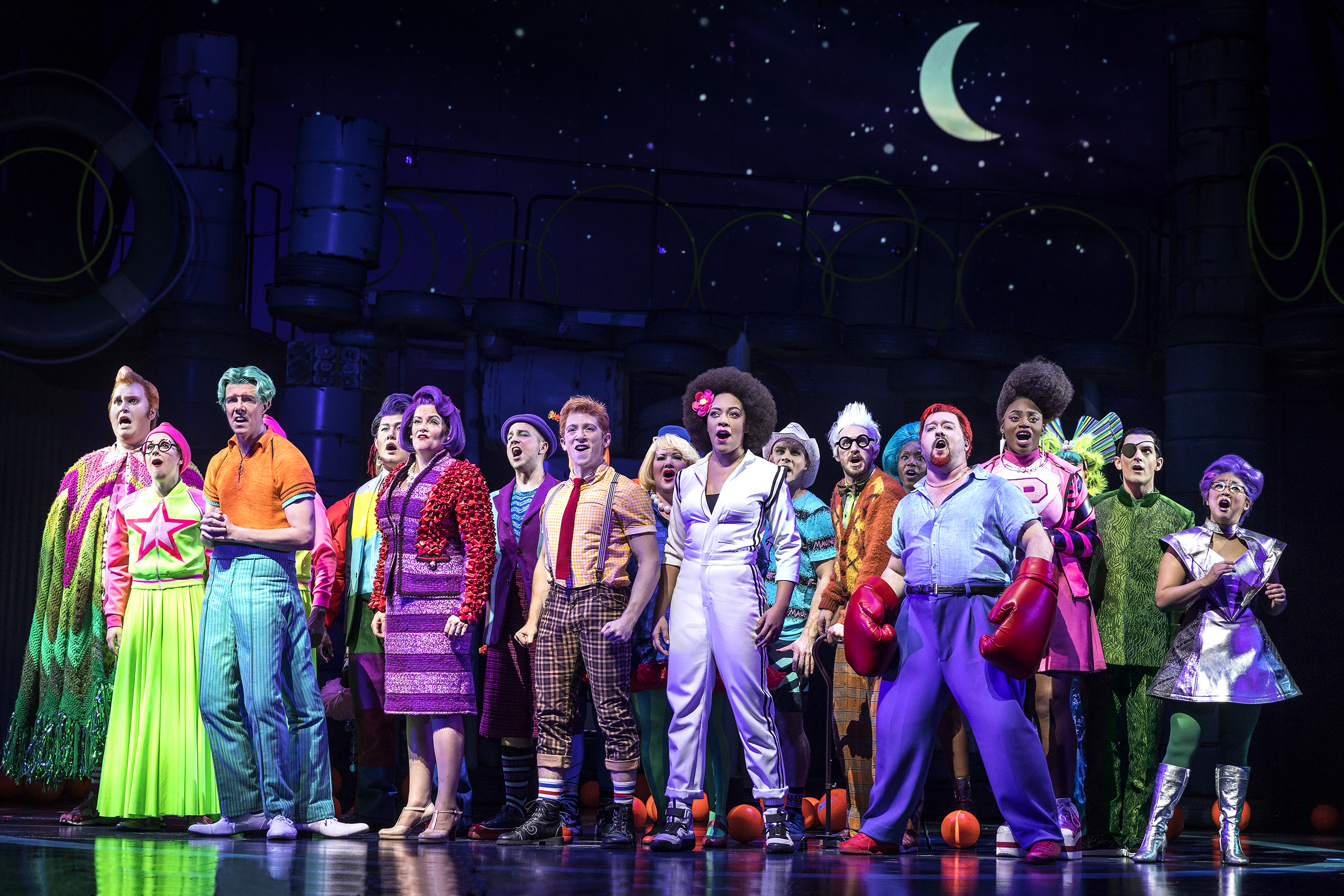 The cast of Spongebob Squarepants the Broadway Musical. Photography by Joan Marcus.