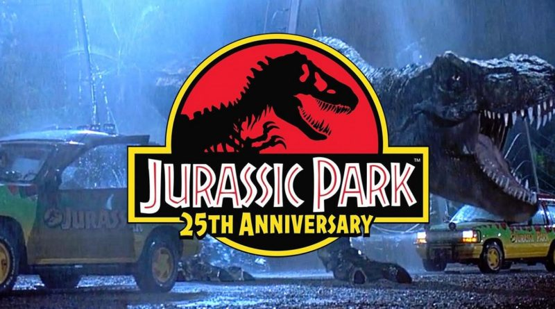 Still of the T. rex breakout from Jurassic Park with 25th Anniversary Logo