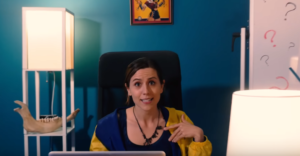 "Shot of Abby Trott in the ""Save the Dinosaurs"" parody video by Hyper RPG."