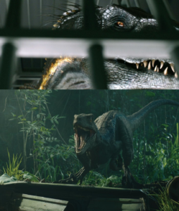 Stills of the Indoraptor and the velociraptor Blue in Jurassic World: Fallen Kingdom, 2018