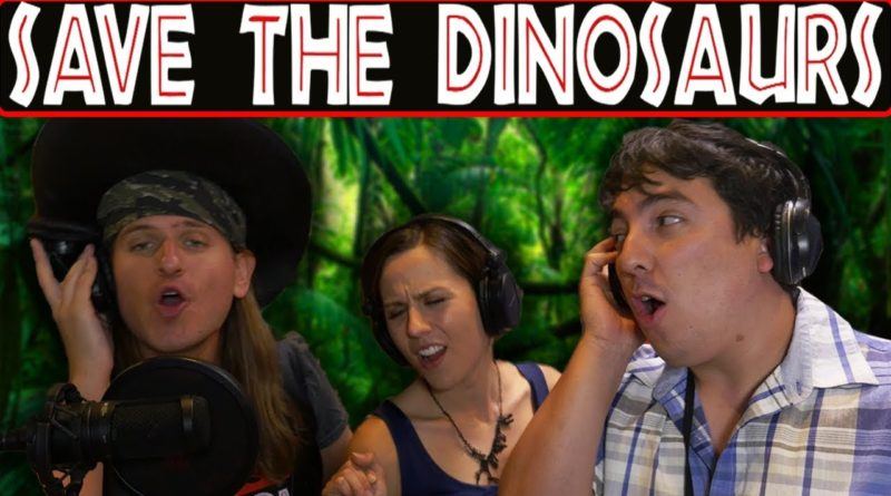 "Cover photo of Hyper RPG's Jurassic World parody video, ""Save the Dinosaurs"""