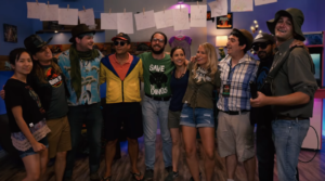 "Still of the cast of Hyper RPG's Jurassic Park Parody video ""Save the Dinosaurs"""
