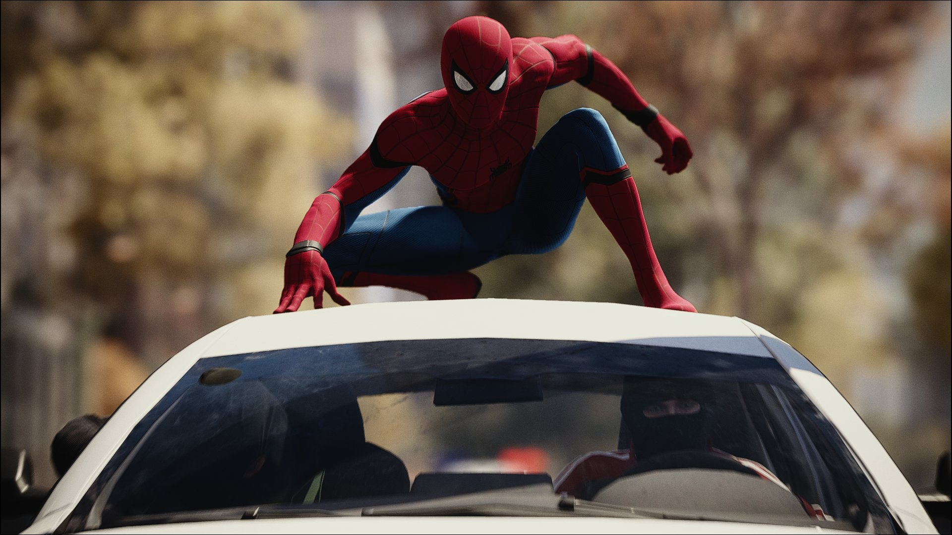 Spider-Man on Car