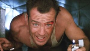 Still of Bruce Willis in Die Hard.