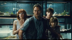 Production still of the cast from Jurassic World.