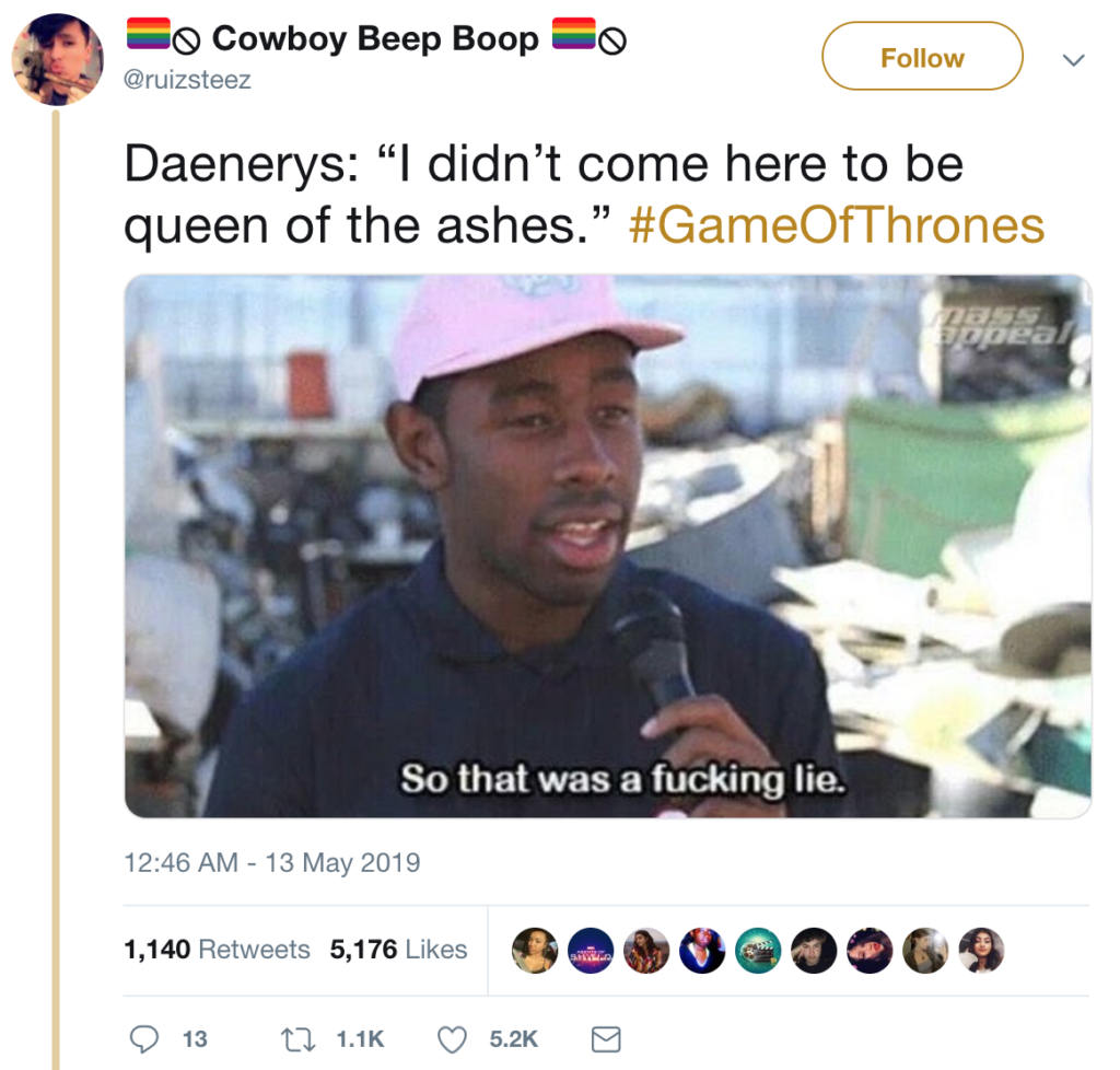 Twitter meme about Game of Thrones